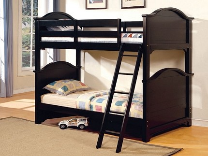 FURNITURE OF AMERICA CHESAPEAK TWIN TWIN BUNK BED BLACK FINISH, CM-BK616