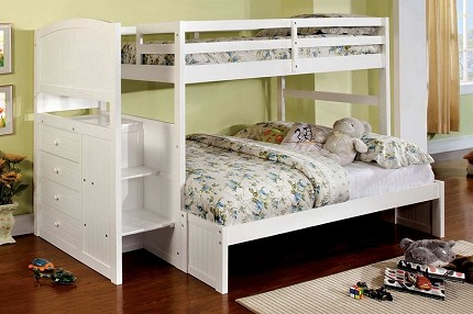 APPENZELL TWIN/FULL BUNK BED + 4 DRAWERS  WHITE FINISH