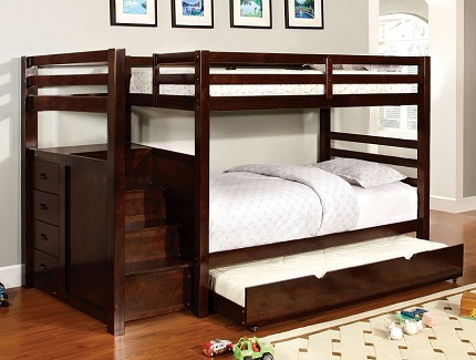 FURNITURE OF AMERICA PINE RIDGE TWIN/TWIN BUNK BED + 4 BUILT IN DRAWERS, CM-BK966