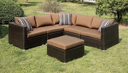PATIO SECTIONAL WITH BROWN CUSHIONS