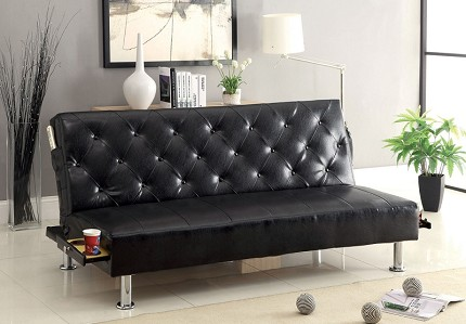 FUTON SOFA WITH SIDE POCKET AND PULL OUT CUP HOLDERS
