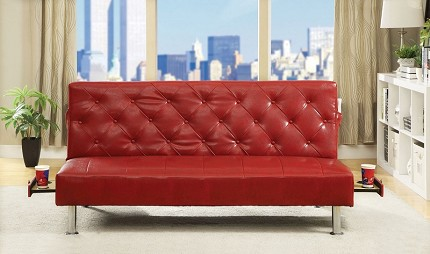 FURNITURE OF AMERICA, FUTON SOFA WITH SIDE POCKET AND PULL OUT CUP HOLDERS,  2668RD