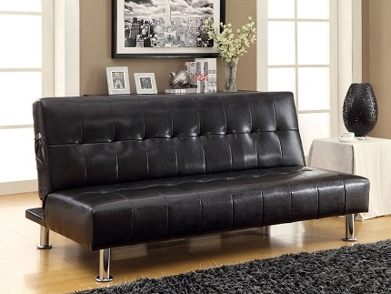 FURNITURE OF AMERICA, BULLE FUTON SOFA WITH SIDE POCKET, CM2669P-BK
