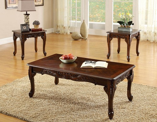 3PCS SET TABLE, 1COFFEE TABLE+2END TABLES CHERRY FINISH