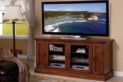 "61"" TV CONSOLE IN ANTIQUE OAK"