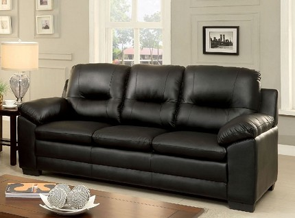 FURNITURE OF AMERICA, PARMA SOFA BLACK BONDED LEATHER, CM6324BK-SF