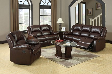 2 PCS SOFA SET WITH 4 RECLINERS  RUSTIC BROWN