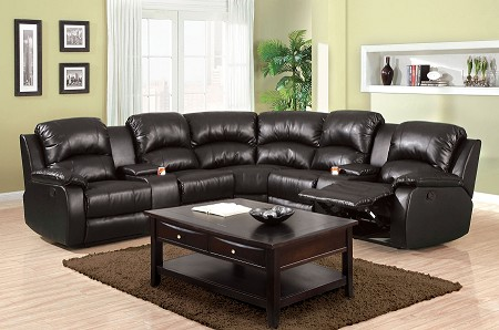 FURNITURE OF AMERICA, ABERDEEN  SECTIONAL WITH 2 RECLINERS BLACK, CM6557BP