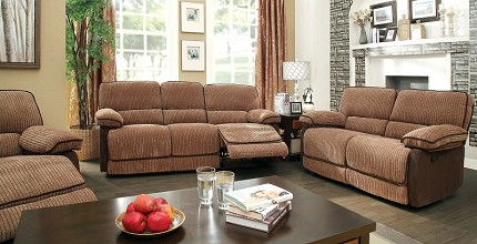 2 PCS SOFA SET  WITH 4 RECLINERS BROWN