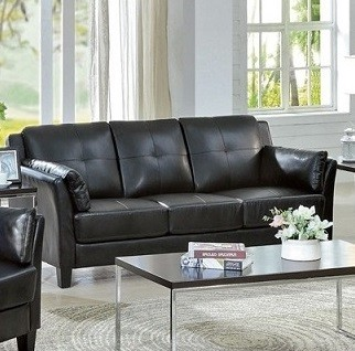 FURNITURE OF AMERICA, PIERRE  SOFA  BLACK, CM6717BK-SF