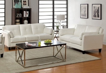 FURNITURE OF AMERICA, PIERRE 2PCS SOFA + LOVE SEAT WHITE, CM6717WH