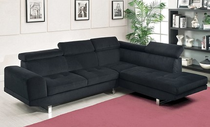 HOLT  SECTIONAL BLACK BELLA FABRIC