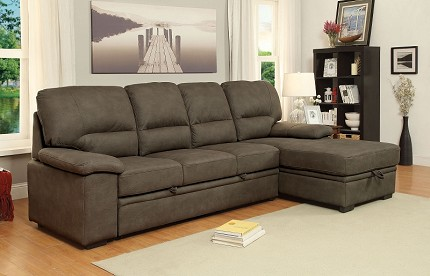 FURNITURE OF AMERICA, ALCESTER SECTIONAL WITH PULL OUT BED, CM6908BR