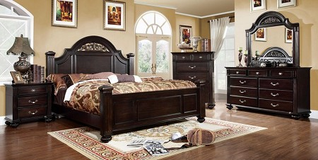 FURNITURE OF AMERICA, SYRACUSE QUEEN BED DARK WALNUT, CM7129