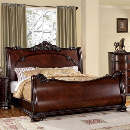 FURNITURE OF AMERICA BELLEFONTE QUEEN BED LUXURIOUS BAROQUE STYLE, CM7277