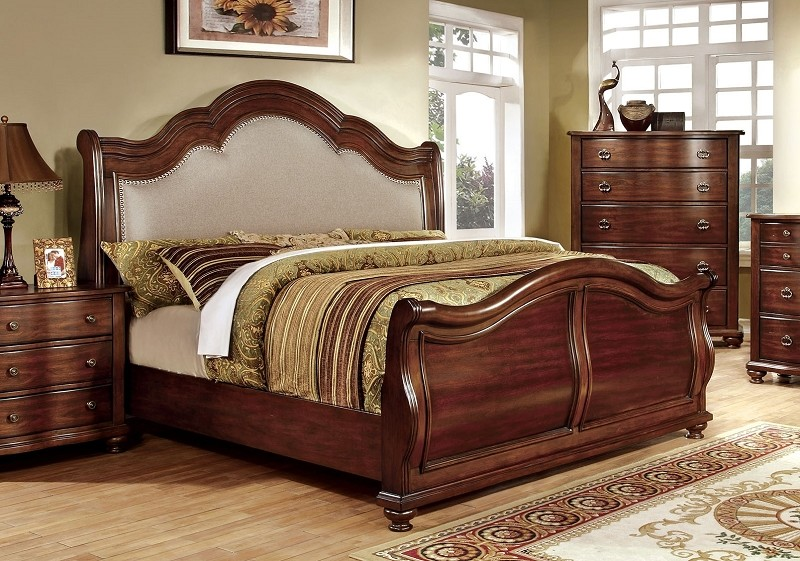 Eastern King Bed Brown Cherry Finish