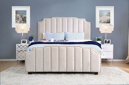 FURNITURE OF AMERICA, ATRIA QUEEN BED FRAME BEIGE, CM7587BG