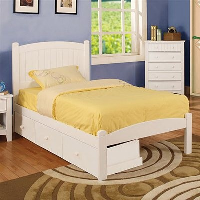 FURNITURE OF AMERICA, CARUS TWIN BED WITH 3 DRAWERS, CM7902WH-T