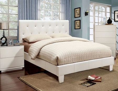FURNITURE OF AMERICA, VELEN QUEEN BED WHITE, CM7949WH