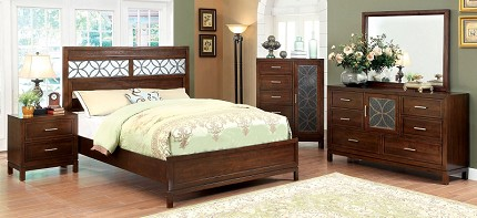 FURNITURE OF AMERICA, QUEEN BED BROWN CHERRY, CM7982