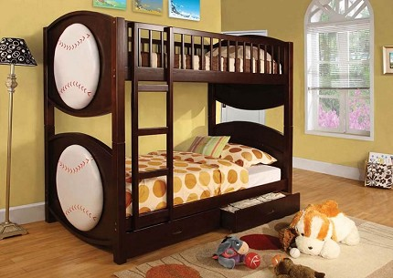 FURNITURE OF AMERICA, TWIN TWIN BUNK BED BASEBALL WITH TWO DRAWERS,  CM-BK065-BSBL