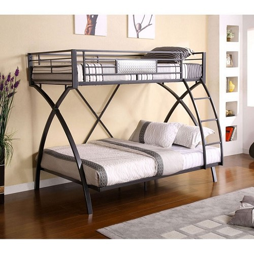 FURNITURE OF AMERICA APOLLO TWIN FULL BUNK BED METAL, CM-BK1029