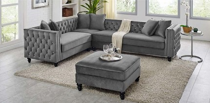 SECTIONAL GRAY VELVET LIKE FABRIC, D6090-2
