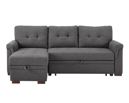 REVERSIBLE SECTIONAL WITH PULL-OUT BED AND STORAGE CHAISE