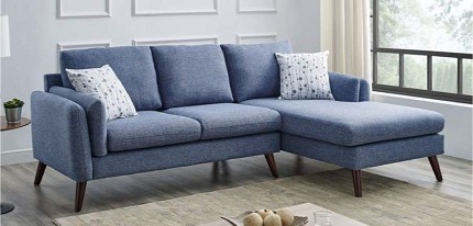 SECTIONAL BLUE FABRIC WITH 2 ACCENT PILLOWS