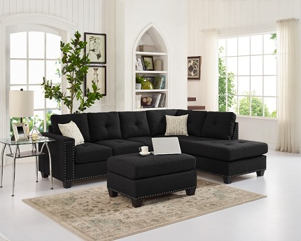 REVERSIBLE SECTIONAL BLACK  POLYFIBER, D6140
