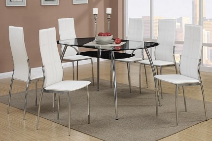 POUNDEX, 7PCS DINETTE SET GLASS TOP AND FAUX LEATHER, F2225, F1278