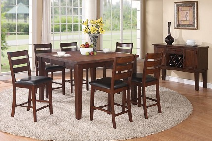 7PCS COUNTER HEIGHT TABLE+6 HIGH CHAIRS