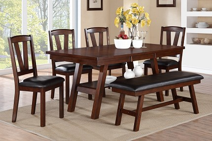 POUNDEX, 6PC DINETTE SET DARK WALNUT, F2271, F1331, F1332