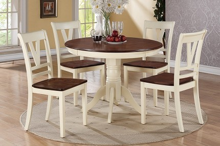 POUNDEX, 5PCS DINETTE SET ROUND TABLE  + 4 SIDE CHAIRS, F2390, F1351