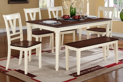 POUNDEX, 6PCS DINETTE SET TABLE+4 CHAIRS+ 1 BENCH, F2391, F1351, F1352