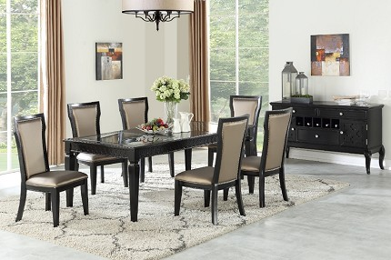 POUNDEX, 9 PCS FORMAL DINING SET BLACK FINISH, F2479, F1778