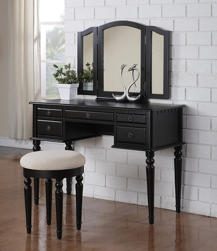 POUNDEX, VANITY SET FREE STOOL BLACK FINISH, F4072