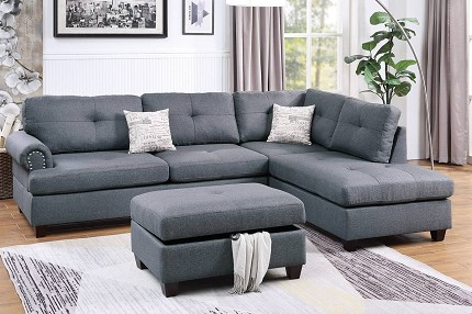 POUNDEX, REVERSIBLE SECTIONAL GRAY, F6414