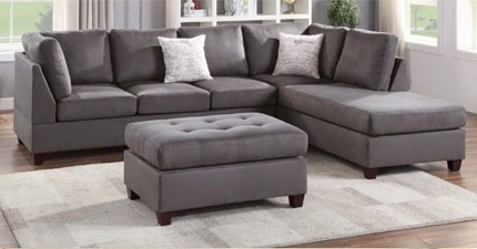 POUNDEX, REVERSIBLE SECTIONAL GRAY MICROFIBER, F6424