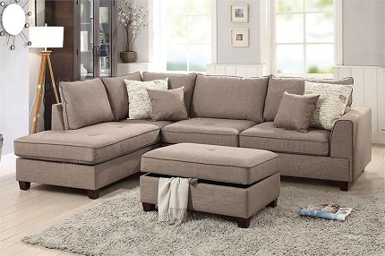 POUNDEX, 3 PCS SECTIONAL MOCHA, F6544