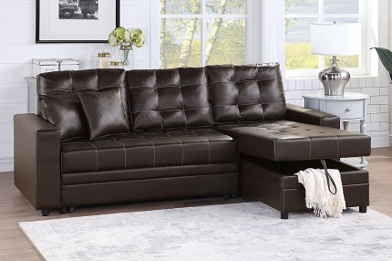 POUNDEX, CONVERTIBLE SECTIONAL ESPRESSO FAUX LEATHER , F6592