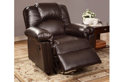 POUNDEX, ROCKER RECLINER ESPRESSO BONDED LEATHER, F6676