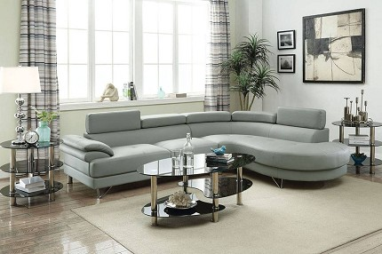 POUNDEX, SECTIONAL LIGHT GRAY BONDED LEATHER, F6984