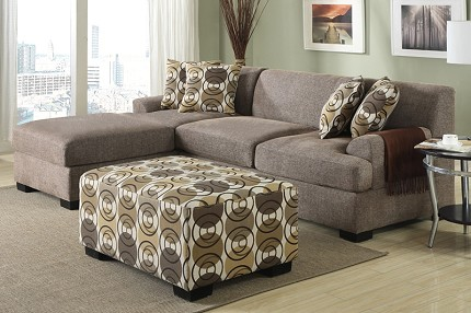 POUNDEX 2PCS SECTIONAL SET  + 4 ACCENTS PILLOWS SLATE, F7448