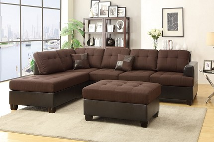 POUNDEX 3 PCS SECTIONAL SOFA+OTTOMAN, F7602