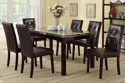POUNDEX, 7PC DINETTE ST, TABLE+ 6 CHAIRS, F2093, F1078