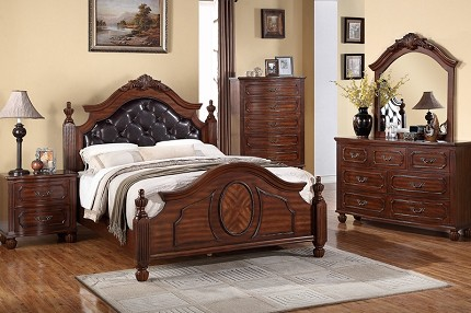 POUNDEX,  BEDROOM SET QUEEN SIZE BED+DRESSER+MIRROR+1NIGHT STAND