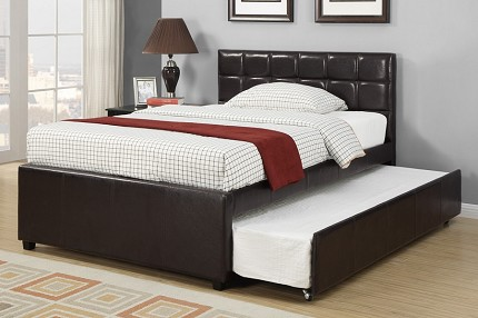 POUNDEX TWIN BED +TRUNDLE FAUX LEATHER, F9215T