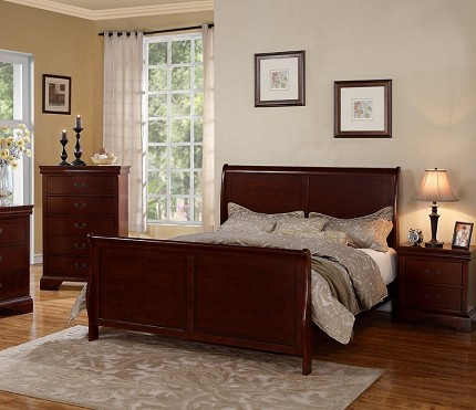 POUNDEX, QUEEN BED CHERRY FINISH, F9231Q