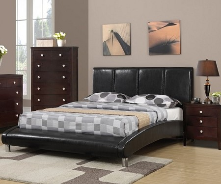 POUNDEX, QUEEN BED BLACK FAUX LEATHER, F9240Q